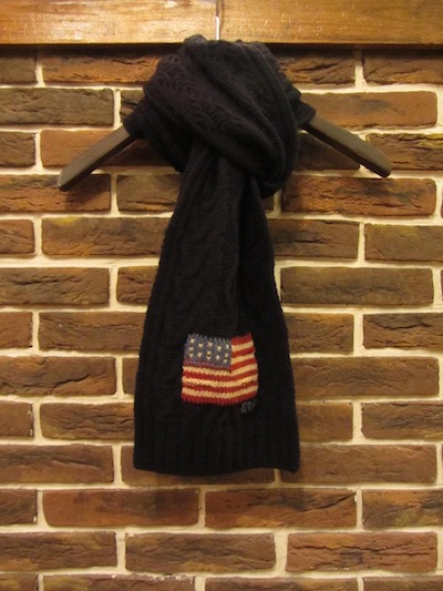 "POLO RALPH LAUREN(ラルフローレン)FLAG CABLE KNIT SCARF""NAVY""(フラッグケーブルニットスカーフ)"