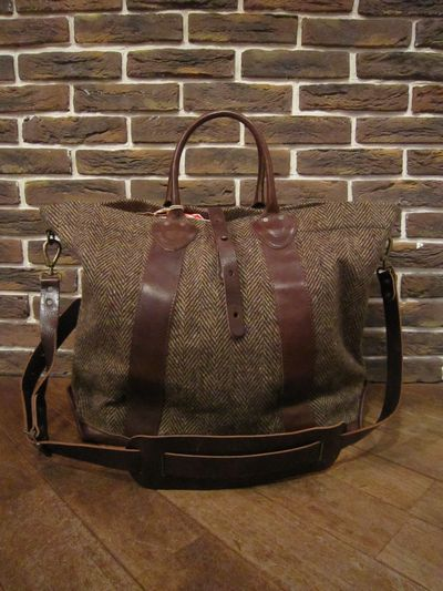 "RRL (ダブルアールエル)TWEED×LEATHER 2WAY BAG ""MADE IN ITALY""(ツイード×レザー2WAYバッグ)"