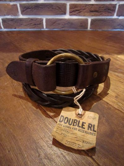 RRL(ダブルアールエル)LEATHER WOVEN RING BELT