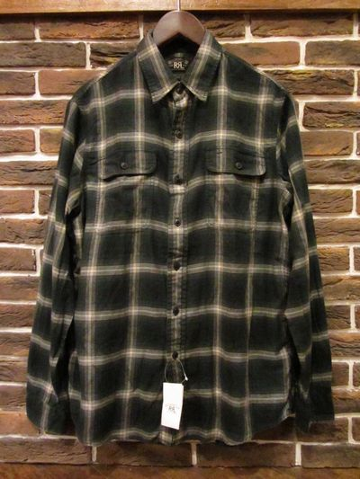 "RRL(ダブルアールエル)L/S FLANNEL SHIRTS""OMBRECHECK""(オンブレチェックネルシャツ,モスグリーン)"