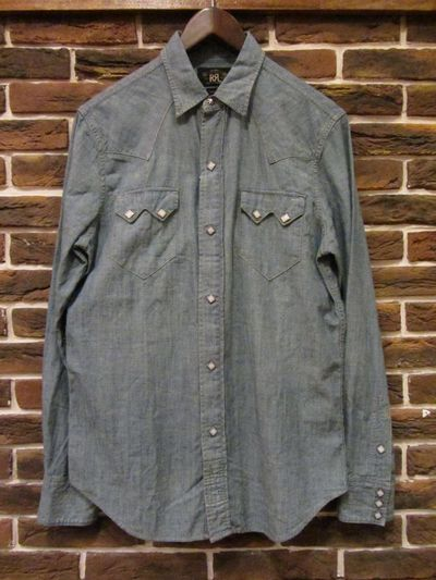"RRL (ダブルアールエル)L/S ""SAW TOOTH""CHAMBRAY WESTERN SHIRTS(シャンブレーウエスタンシャツ)"