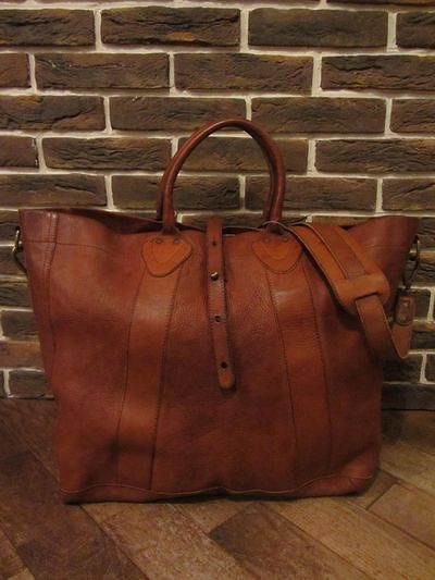 "RRL (ダブルアールエル)VINTAGE MODEL LEATHER TOTE""MADE IN ITALY""(レザートートバッグ)"