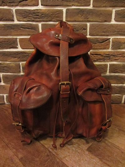 "RRL (ダブルアールエル)RILEY LEATHER RUCK SACK""MADE IN ITALY""(レザーリュックサック)"