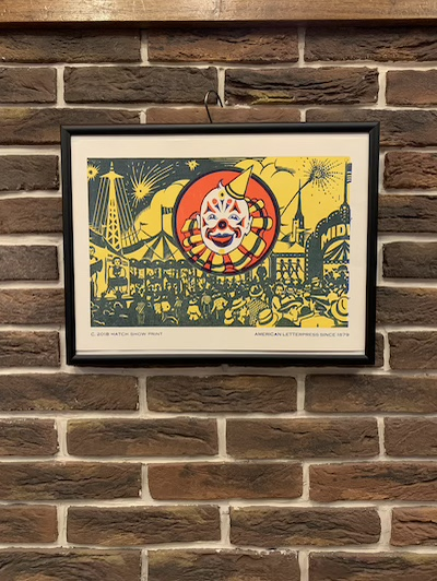 HATCH SHOW PRINT CLOWN POSTER MADE IN USA