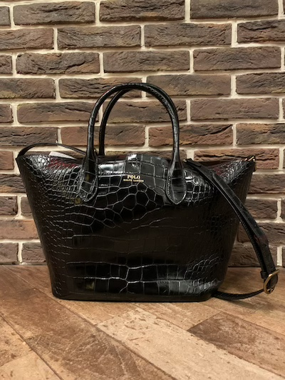 "POLO RALPH LAUREN(ラルフローレン)EMBOSSED MIDIUM BELLPORT TOTE""BLACK""(型押しトートバッグ)"