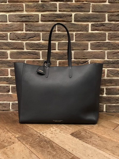 "POLO RALPH LAUREN(ラルフローレン)NAVY LEATHER TOTE W/POUCH""MADE IN ITALY""(ポーチ付きネイビーレザートートバッグ)"