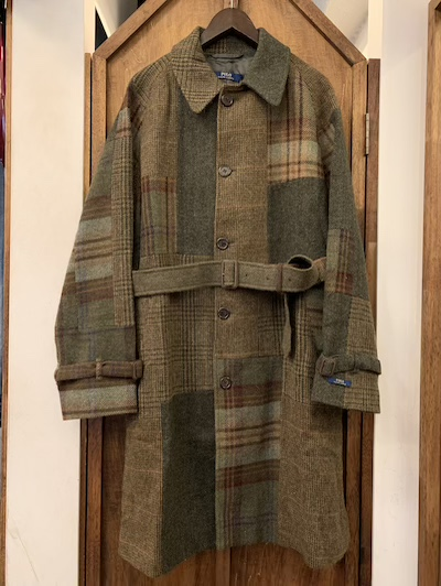 "POLO RALPH LAUREN(ラルフローレン)100%WOOL PATCHWORK TOPCOAT""MADE IN ITALY"""