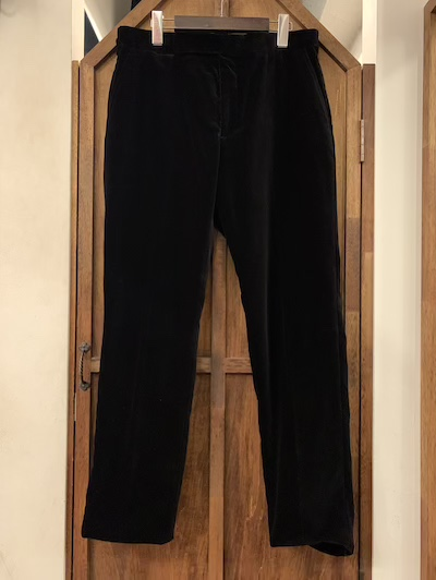 POLO RALPH LAUREN(ラルフローレン)BLACK VEROA TROUSER MADE IN ITALY(ベロアトラウザー)