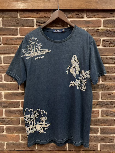 "POLO RALPH LAUREN(ラルフローレン)EMBROIDERED HAWAIIAN TSHIRTS""INDIGO DYE""(インディゴダイ刺繍Tシャツ)"