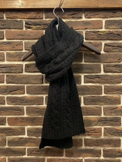 "POLO RALPH LAUREN(ラルフローレン)100%CASHMERE CABLE SCARF"" CHARCOAL"""