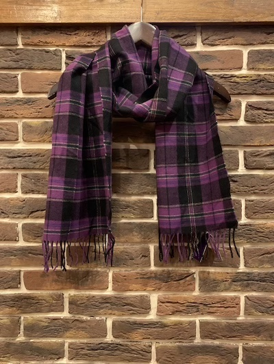 "POLO RALPH LAUREN(ラルフローレン)100%CASHMERE SCARF""PURPLE PLAID MADE IN ENGAND"""