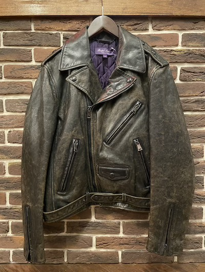 "POLO RALPH LAUREN(ラルフローレン)LEATHER MOTO JACKET""MADE IN ITALY"" #2 MEDIUM"