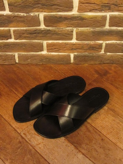"RALPH LAUREN(ポロ ラルフローレン)JEFF LEATHER SANDAL BLACK""MADE IN ITALY""(レザーサンダル)"