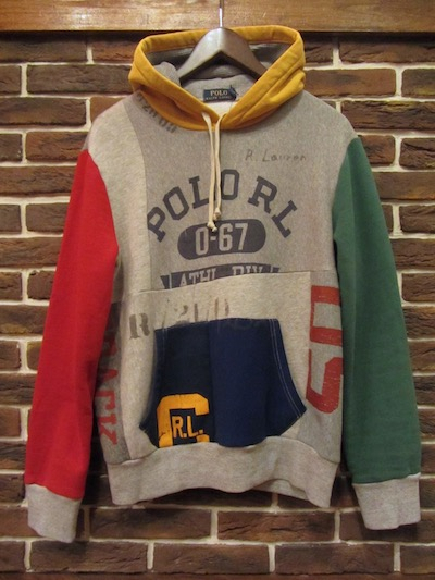 POLO RALPH LAUREN(ラルフローレン)PATCHWORK COTTON BLEND HOODIE(フリースパッチワークパーカー)