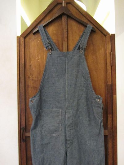 "RRL (ダブルアールエル)NEW ENGLAND OVERALL""MADE IN USA""(インディゴチェックオーバーオール)"