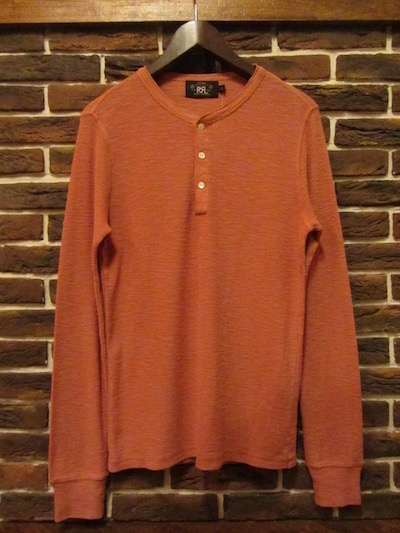 "RRL (ダブルアールエル)TEXTURED HENLEYNECK THERMAL TEE""OUTPOST RED""(ヘンリーネックサーマルTシャツ)"