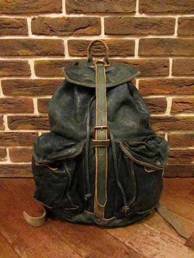 "RRL (ダブルアールエル)RILEY LEATHER RUCK SACK""INDIGO-DYED LEATHER""(レザーリュックサック)"