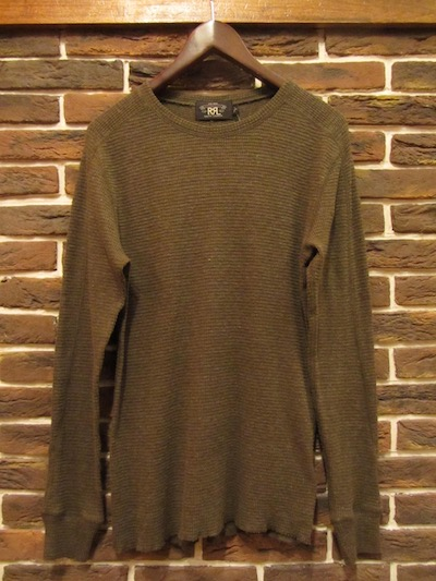 "RRL (ダブルアールエル)TWAFFLE COTTON THERMAL TSHIRTS"" STENCIL PRINT"