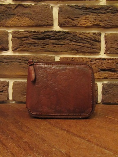 "RRL (ダブルアールエル)CARVING LEATHER ZIP WALLET""MADE IN ITALY""(カービングレザーウォレット)"
