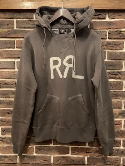 "RRL (ダブルアールエル)LOGO FLEECE HOODIE""FADED BLACK"""